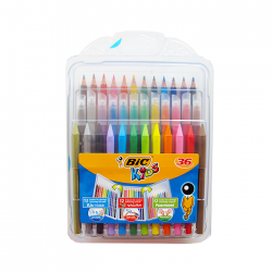 Pachet Bic Kids 12 creioane colorate, 12 creioane cerate, 12 carioci