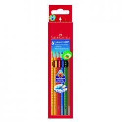 Creioane colorate 6 culori cu grip Faber Castell 112406