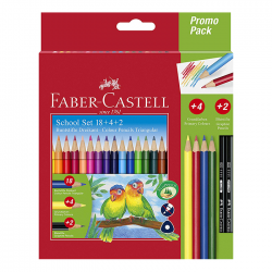 Creioane colorate 18 culori triunghiulare Faber Castell + 4 creioane colorate...