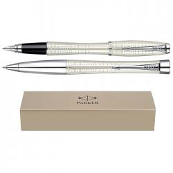 Set pix+stilou Parker Urban Premium alb satinat cu accesorii cromate